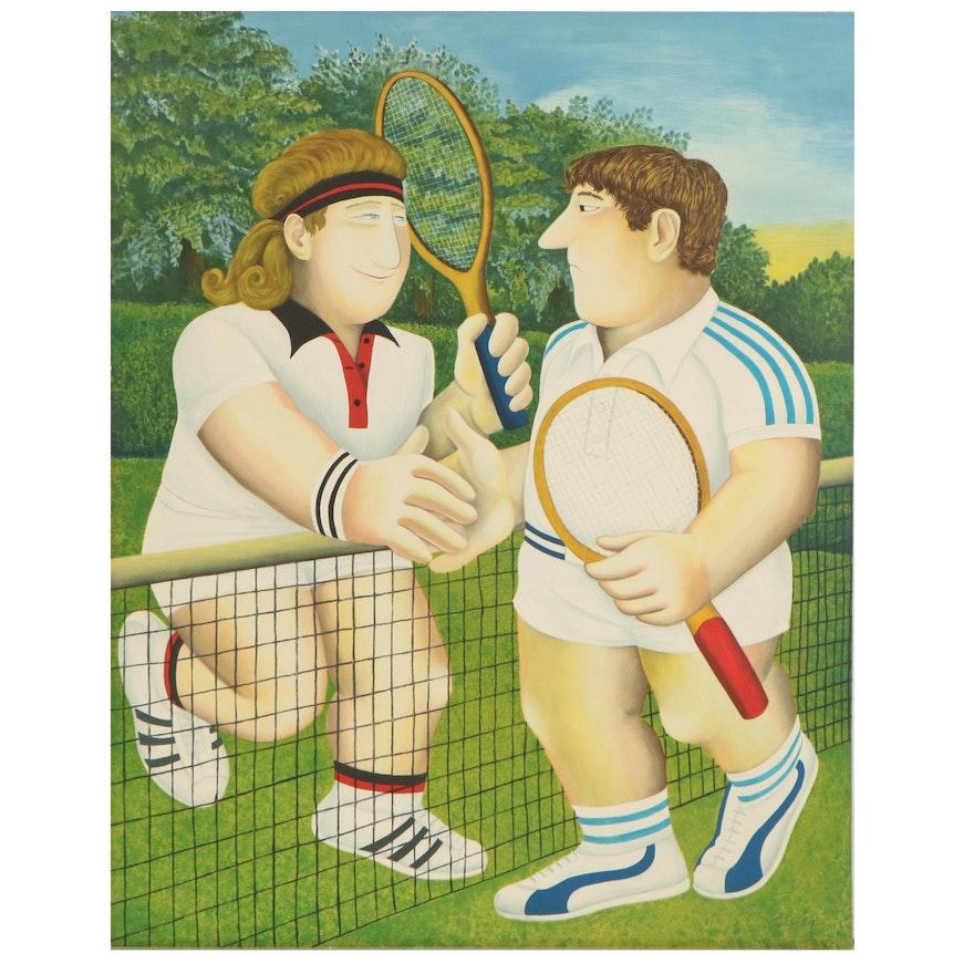 "Beryl Cook Lithograph ""Tennis,"" 1990"