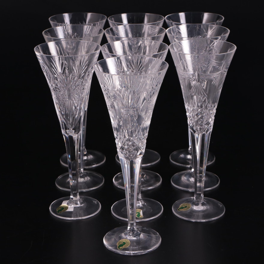 """Waterford """"Health, Prosperity, Peace, Happiness and Love"""" Champagne Flutes"""