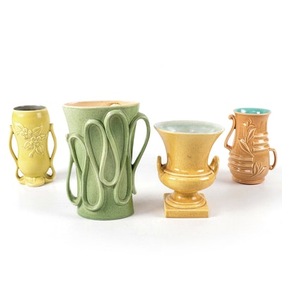 Red Wing Ceramic Pottery Vases, Mid-20th Century