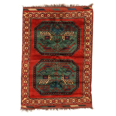 3'7 x 5'3 Hand-Knotted Afghan Pictorial Area Rug