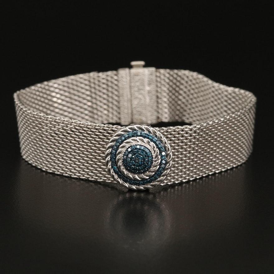 Sterling Silver Diamond Slide Style Mesh Bracelet