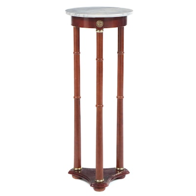 Powell Gilt Brass Mounted Mahogany and White Marble Pedestal