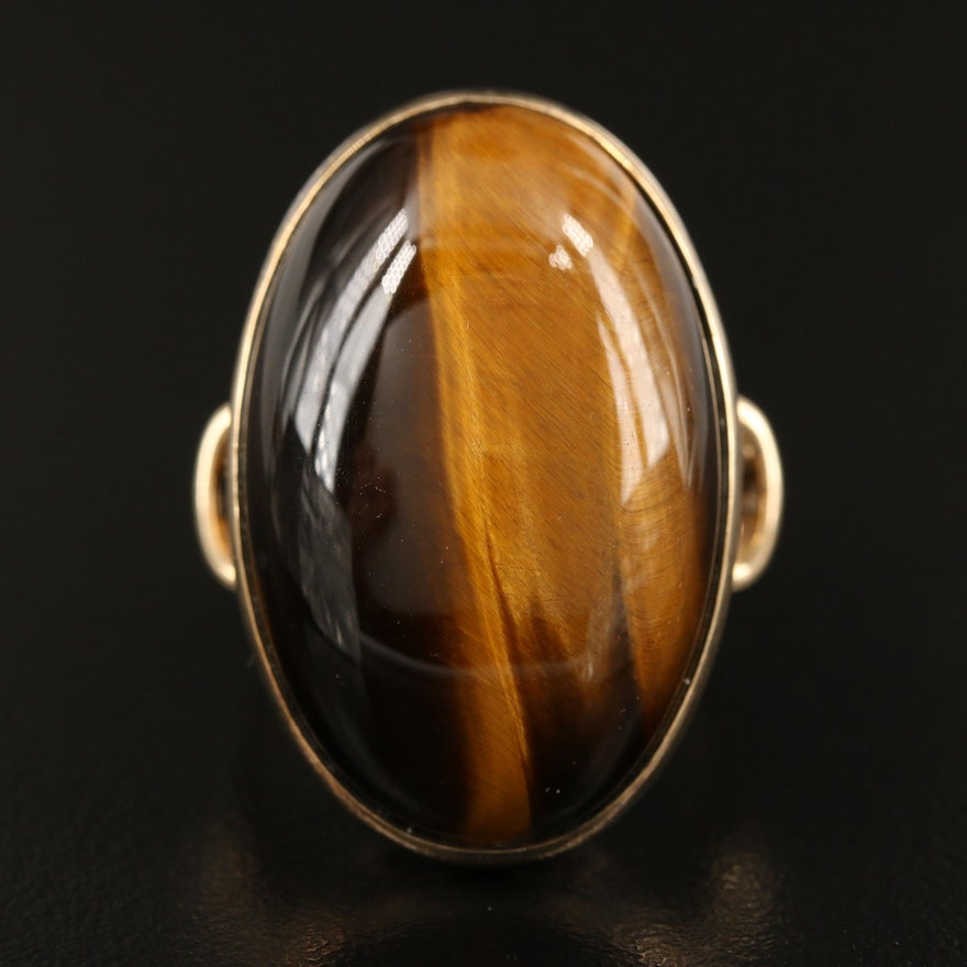 Sterling Silver Oval Tiger's Eye Cabochon Ring