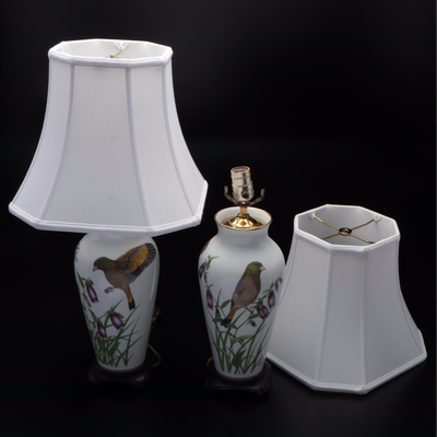 Franklin Mint Birds Series Porcelain Vase Converted Table Lamps, Late 20th C