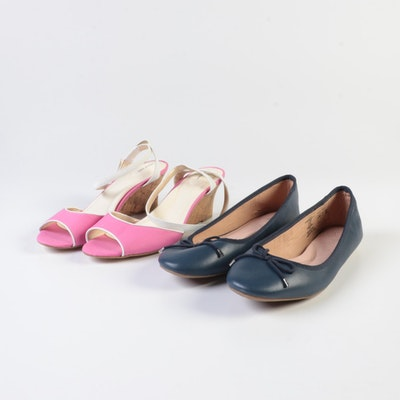 Lands' End Canvas Strap Sandals in Pink and Bianca Bow Ballet Flats in Deep Sea