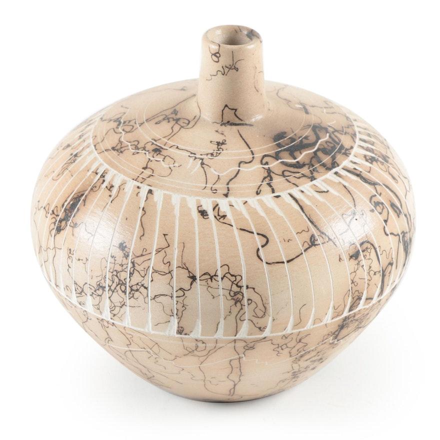 Dina Willie Horsehair Raku Ceramic Vase