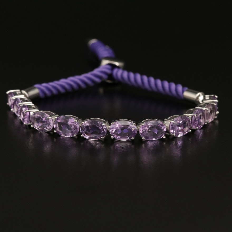Sterling Silver Amethyst Bolo Bracelet