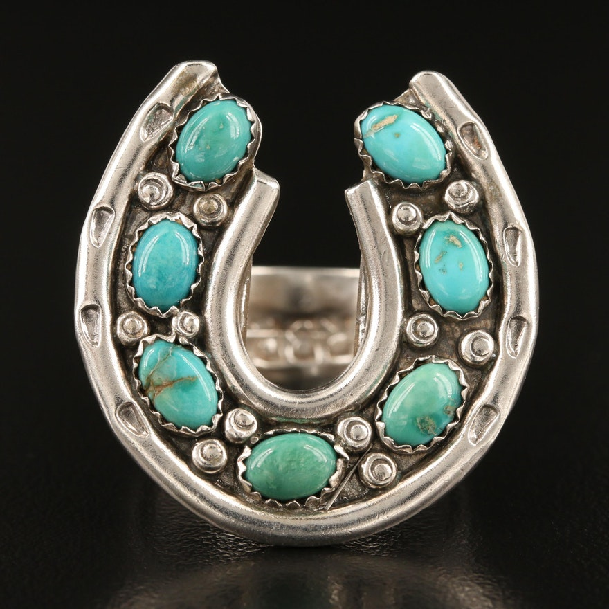 Signed Southwestern Sterling Silver Turquoise Horseshoe Ring