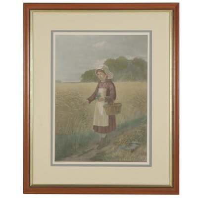 Hand-Colored Halftone of Girl inWheat Field, Early-Mid 20th Century
