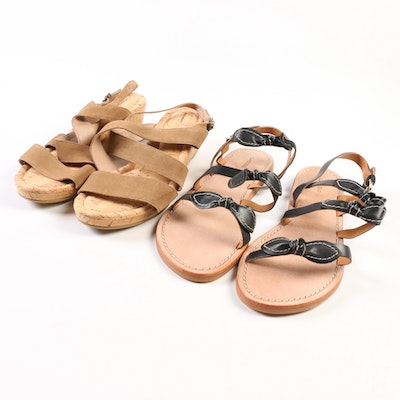 Land's End Perri Low Cork Wedge and Bow Slide Sandals