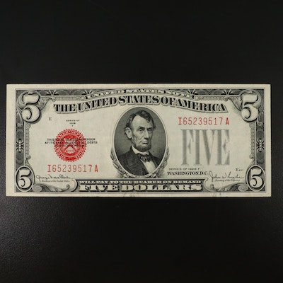 Lightly Circulated $5 Red Seal National Currency Banknote, 1928