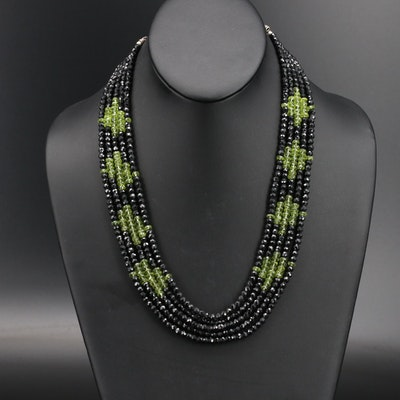 Spinel and Peridot Multi-Strand Necklace with Sterling Granulated Clasp