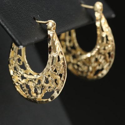 14K Openwork Oblong Hoop Earrings with Flower Design
