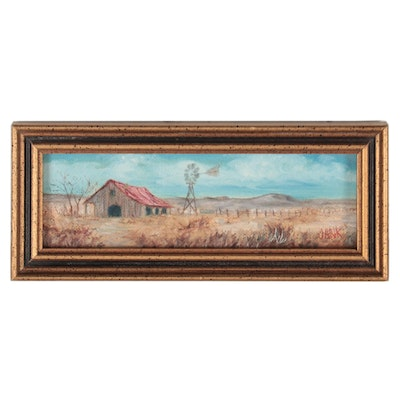 Ruth Jank Miniature Countryside Landscape Oil Painting