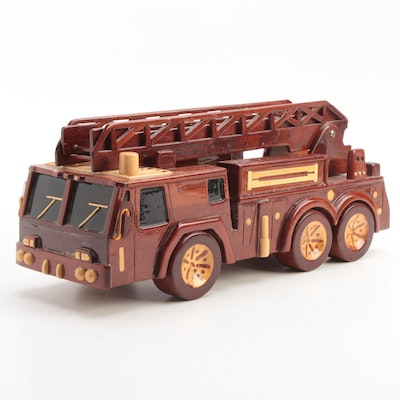 Hand Carved Lacquered Wooden Fire and Rescue Ladder Truck, Late 20th C