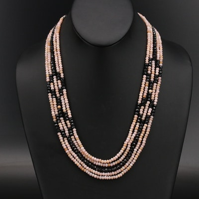 Spinel and Common Opal Multi-Strand Necklace with Sterling Granulated Clasp