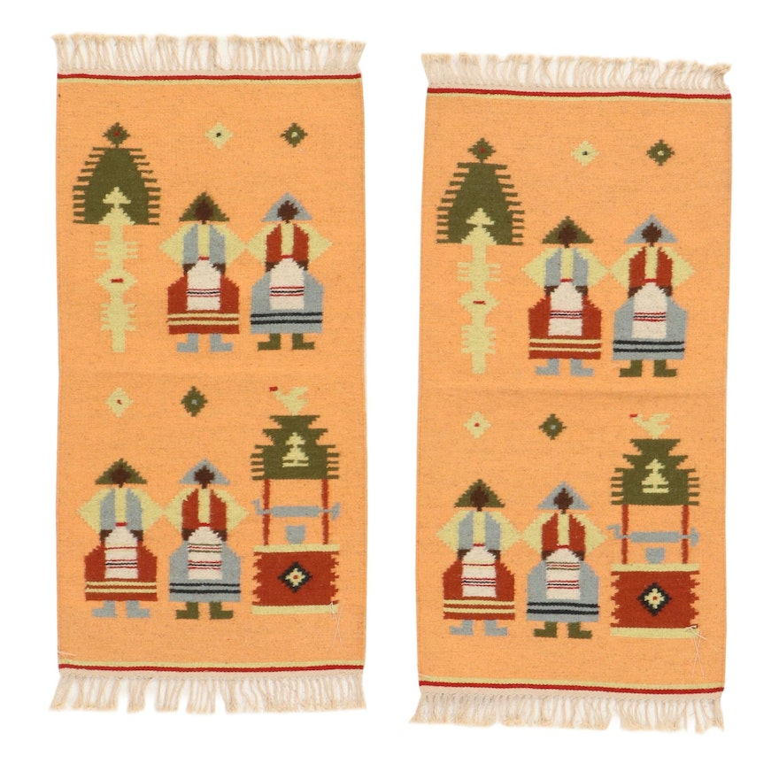 1'8 x 3'8 Handwoven Russian Pictorial Kilim Rugs, 1970s