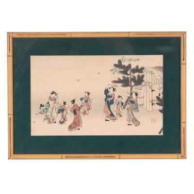 Japanese Woodblock of Leisure Garden Scene