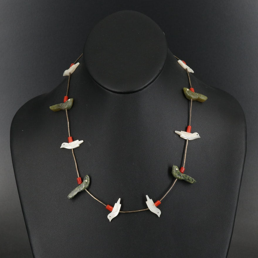 Southwestern Style Sterling Mother of Pearl and Gemstone Fetish Necklace