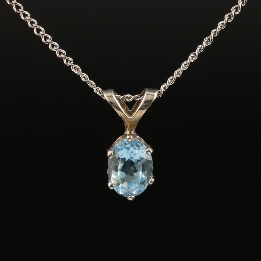 14K Aquamarine Pendant on 10K Chain Necklace