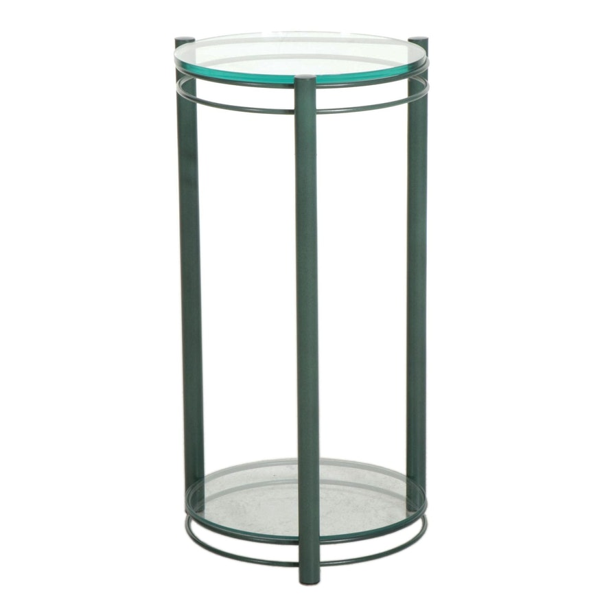 Contemporary Metal and Glass Plant Stand