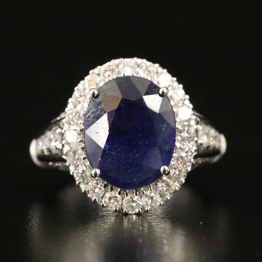 14K Corundum and 1.45 CTW Diamond Halo Ring