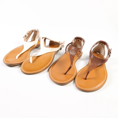 Land's End Tia T-Strap Leather Sandals