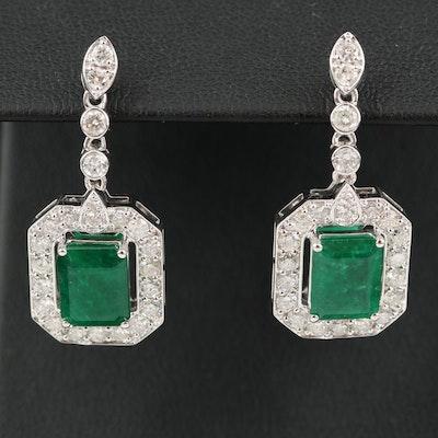 14K 4.32 CTW Emerald and 1.81 CTW Diamond Earrings
