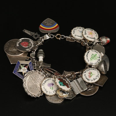 Vintage Charm Bracelet Featuring Sterling, Enamel and Glass Charms
