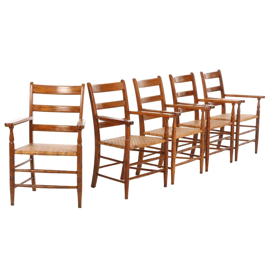 Five Oak Armchairs with Woven Cane Seats, Mid-20th Century
