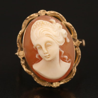 14K Oval Shell Cameo Ring