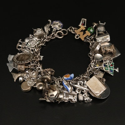 Vintage Charm Bracelet Featuring Mother of Pearl and Enamel