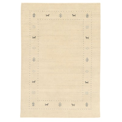 4'2 x 6' Hand-Knotted Indo-Persian Gabbeh Pictorial Rug, 2010s