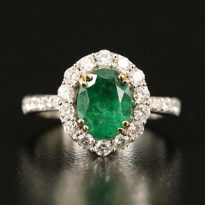 14K 1.70 CT Emerald and Diamond Halo Ring