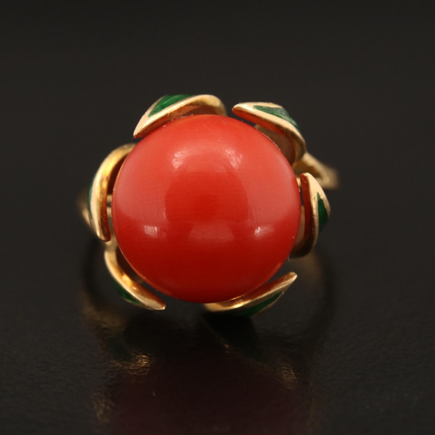 18K Coral and Enamel Ring
