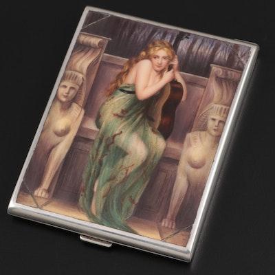 Austrian Orientalist Enamel Sterling Silver Cigarette Case
