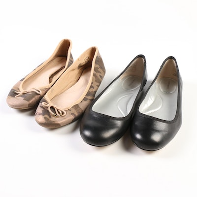 Land's End Emma and Bianca Ballet Flats in Black Leather and Shimmer Camo