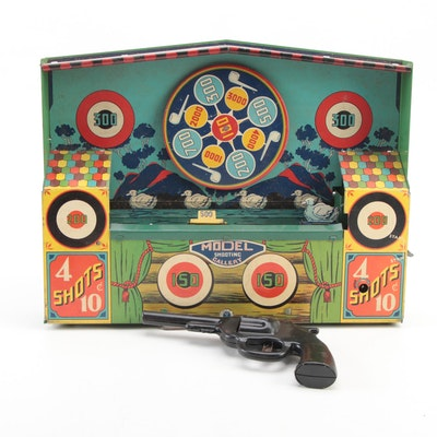"""Wyandotte Tin Lithograph """"Mechanical Shooting Gallery"""" in Packaging, 1930s"""