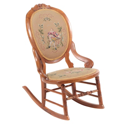 Victorian Walnut Needlepoint Upholstered Lady's Rocking Chair, Late 19th Century