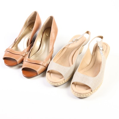 Lands' End Wedge Open Toe Pumps in Tan and Slingback Espadrille Wedges in Beech