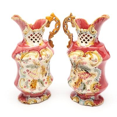 Floral Motif Ceramic Pitcher Vases