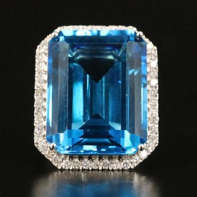 14K 36.63 CT Swiss Blue Topaz and Diamond Halo Ring