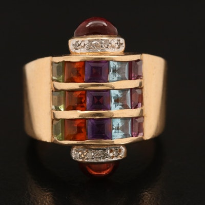 14K Rhodolite Garnet, Topaz, Amethyst, Citrine and Diamond Ring