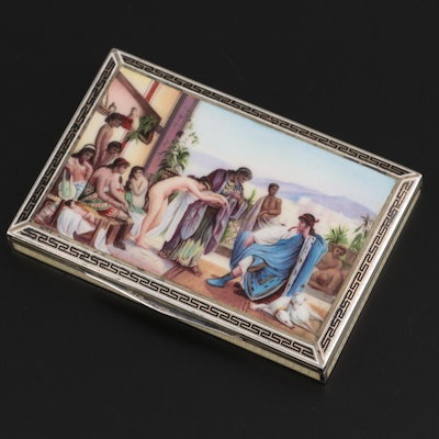 Austrian Orientalist Hand-Painted and Guilloche Enameled 900 Silver Card Case