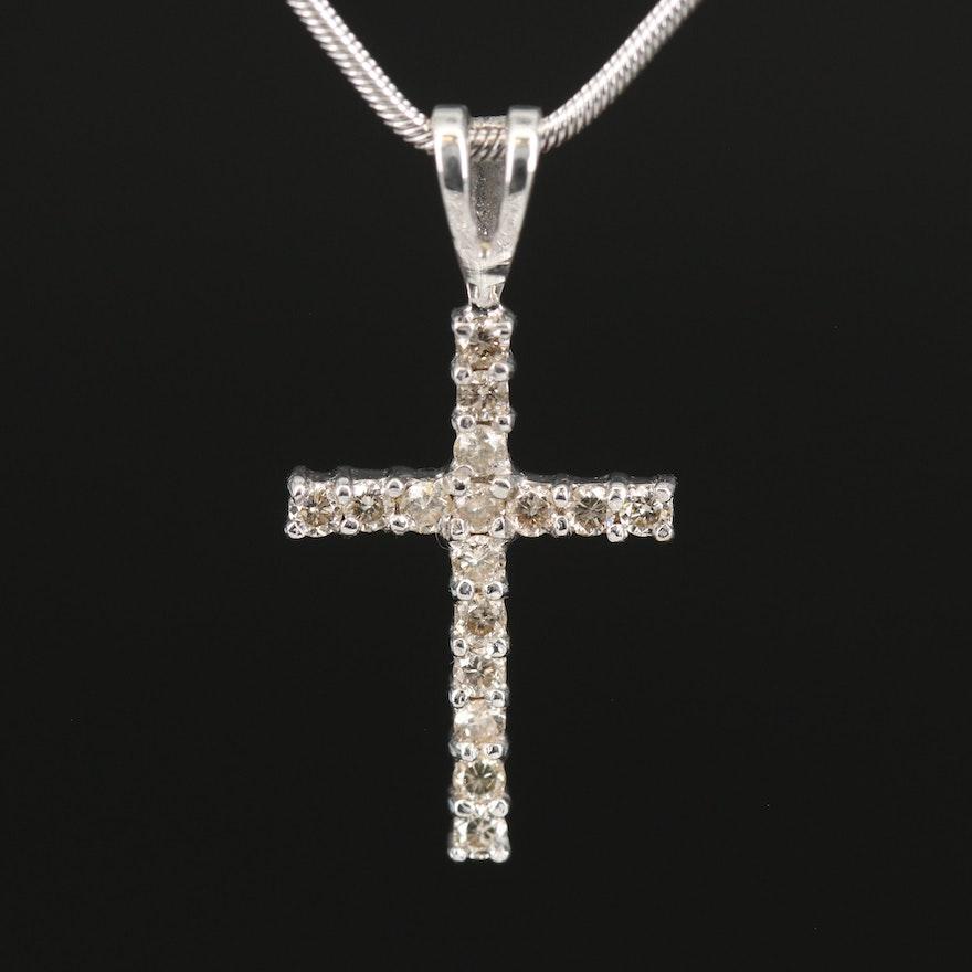 Italian 14K Diamond Cross Pendant Necklace