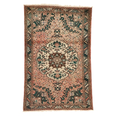 4'3 x 6'6 Hand-Knotted Persian Zanjan Rug, 1960s