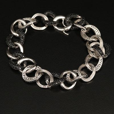 Sterling Pavé Spinel Curb Link Bracelet