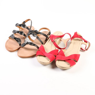 Lands' End Reese Wedge Sandals in Rich Red and Bow Slides in Black