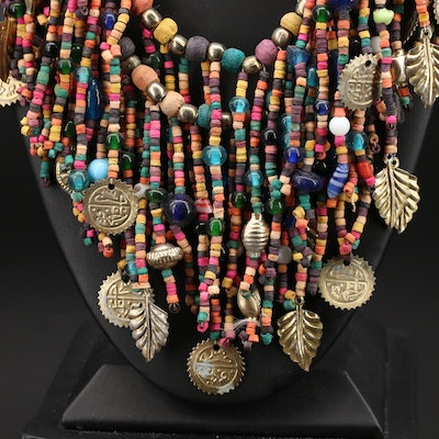 Wood and Glass Bead Double Strand Fringe Necklace