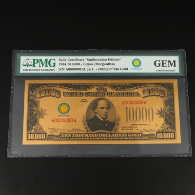 """PMG Graded Gem Uncirculated """"Smithsonian Edition"""" $10,000 Gold Certificate"""